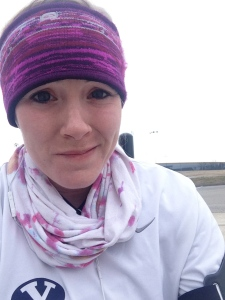 3 layers, a headwrap, and a scarf....it was cold!